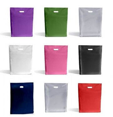 "Carrier Bags 10"" x 16"" x 4"" / 25cm x 40cm Various Colours Plastic Gloss Finish"